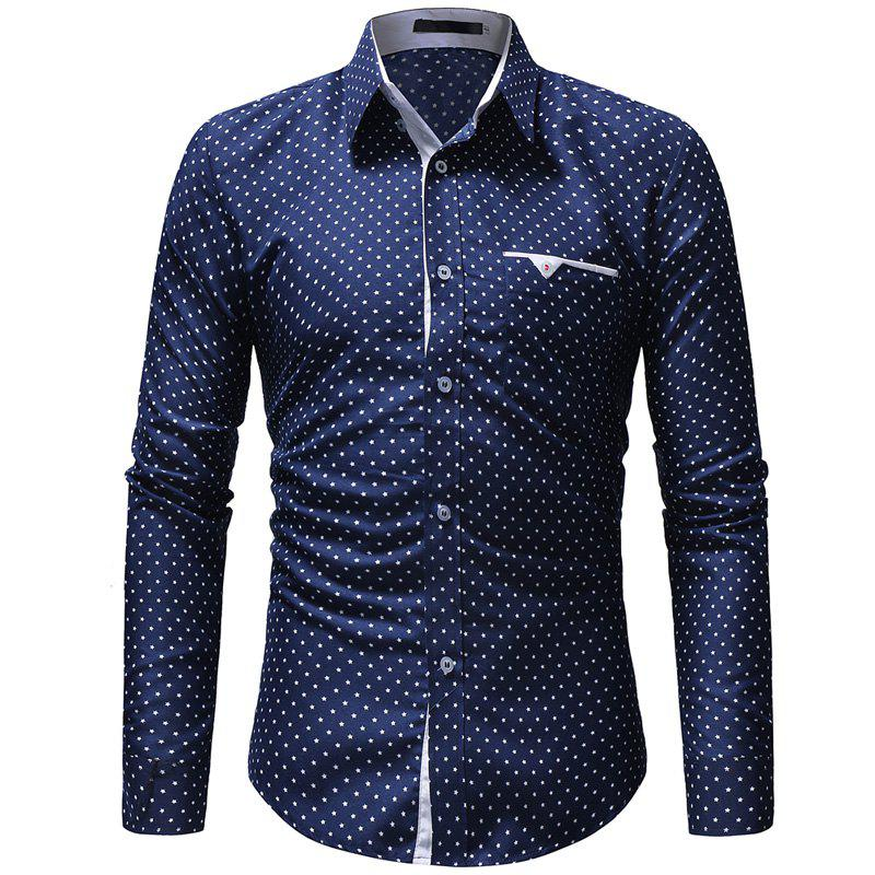 Hot 2018 New Five-Pointed Star Print Men's Casual Slim Long-Sleeved Shirt