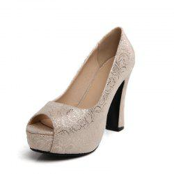 Round Head Rough and Super High Heel Sexy Fish Mouth Single Shoes -