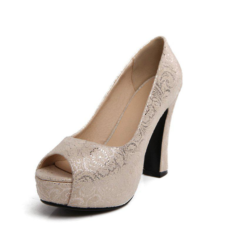 Shop Round Head Rough and Super High Heel Sexy Fish Mouth Single Shoes