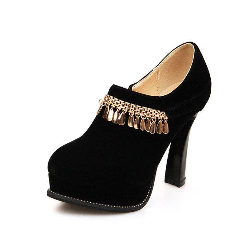 Fancy Round Head Rough and High Fashion Sexy Single Shoes