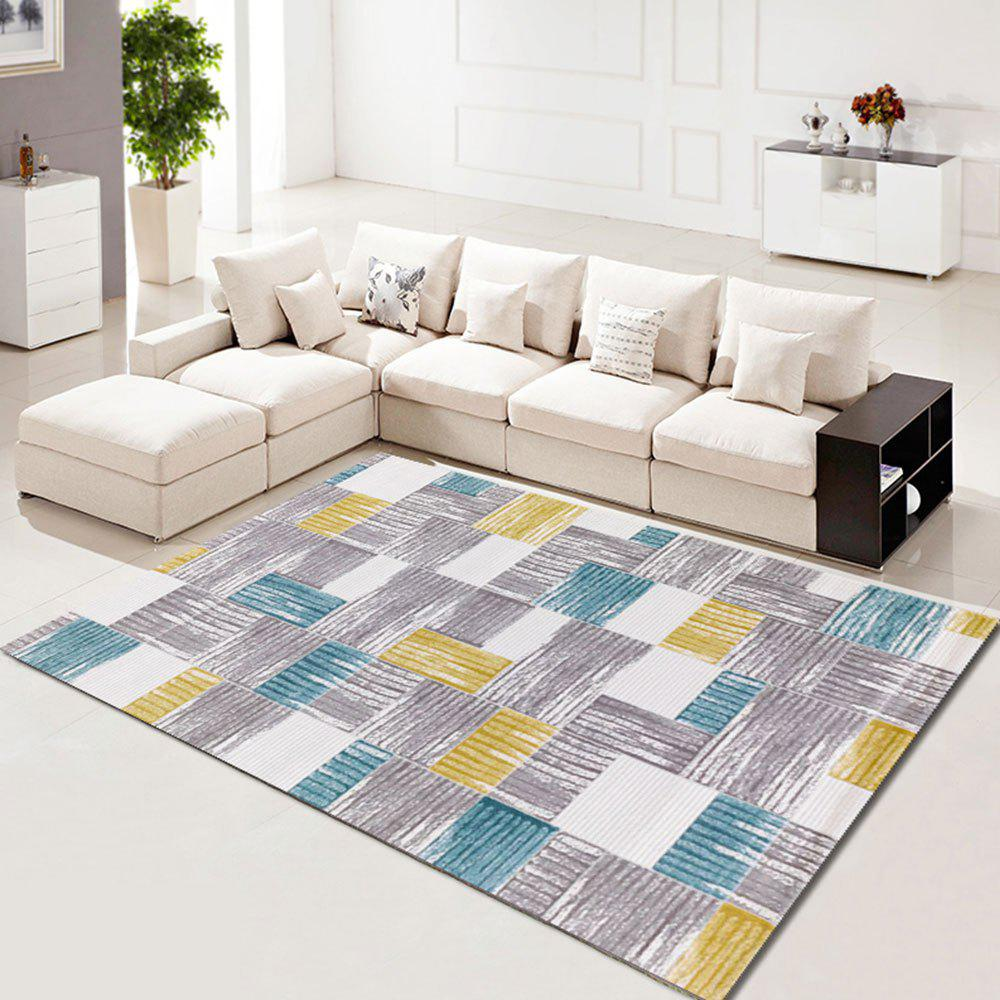 Living Room Carpet Beautiful Color Block Washable Rug