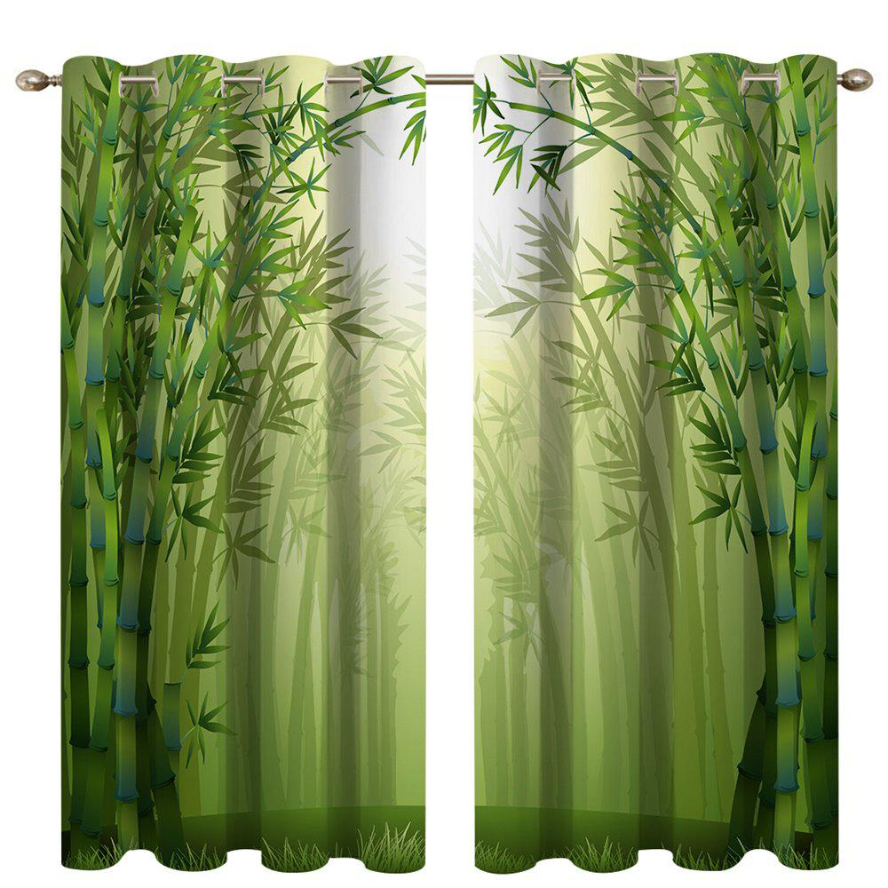 Fancy Misty Bamboo Forest Digital Printing High Precision Black Silk Blackout Curtains