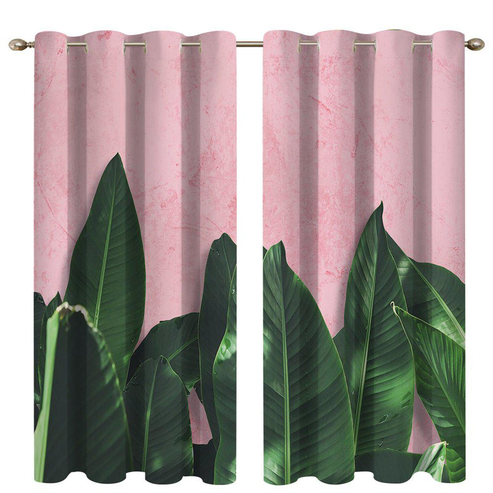 Store Green Leaf Digital Printing High Precision Black Silk Blackout Curtains