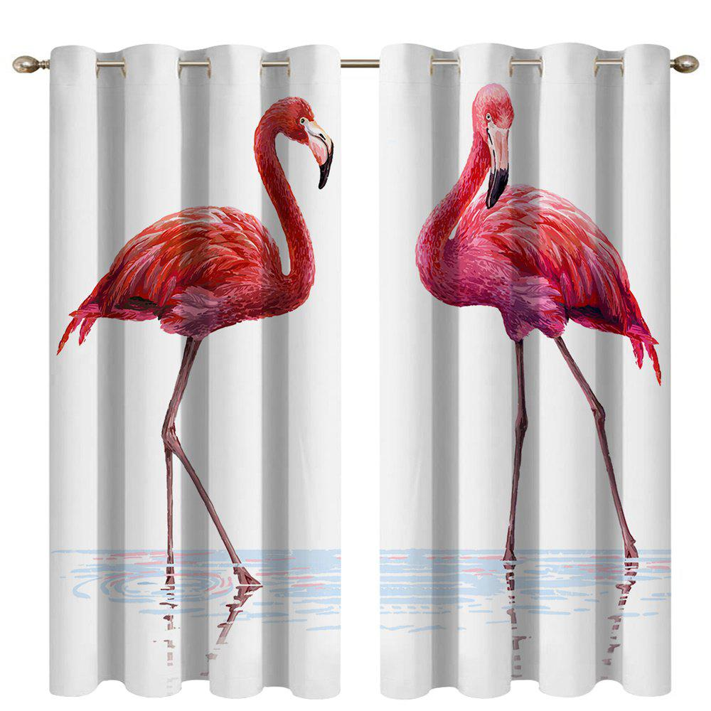 Fancy Water Flamingos Digital Printing High Precision Black Silk Blackout Curtains