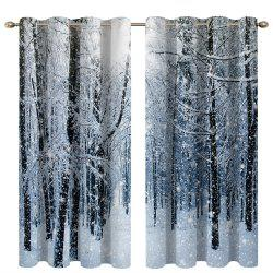 Snow in The Woods Digital Printing High Precision Black Silk Blackout Curtains -