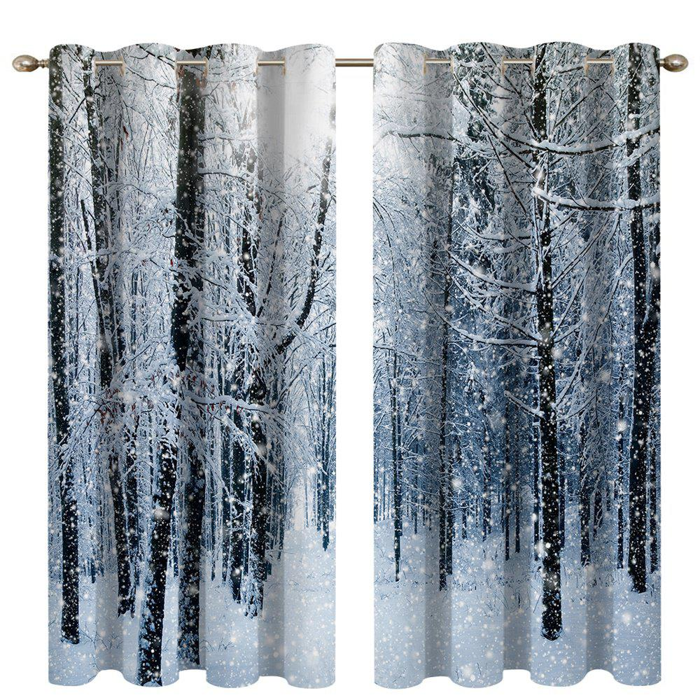 Unique Snow in The Woods Digital Printing High Precision Black Silk Blackout Curtains