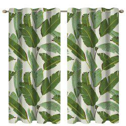 Banana Leaf Digital Printing High Precision Black Silk Blackout Curtains -