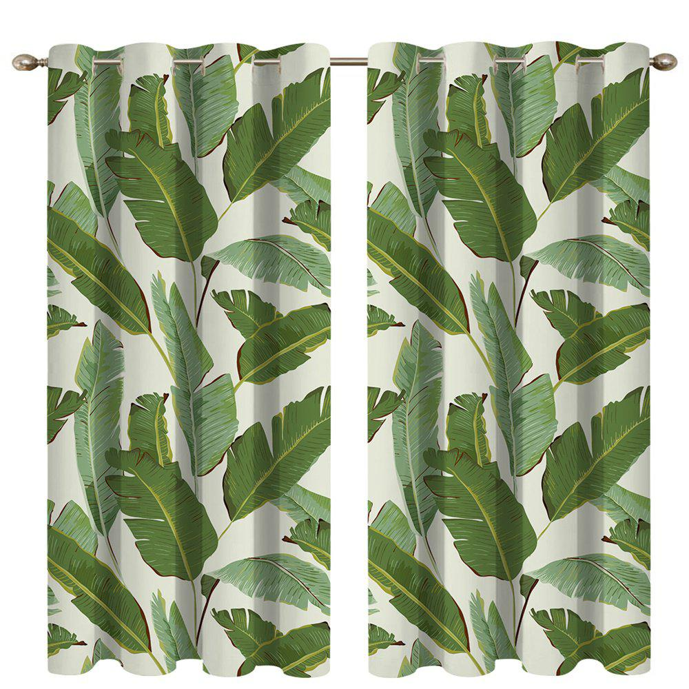 Store Banana Leaf Digital Printing High Precision Black Silk Blackout Curtains