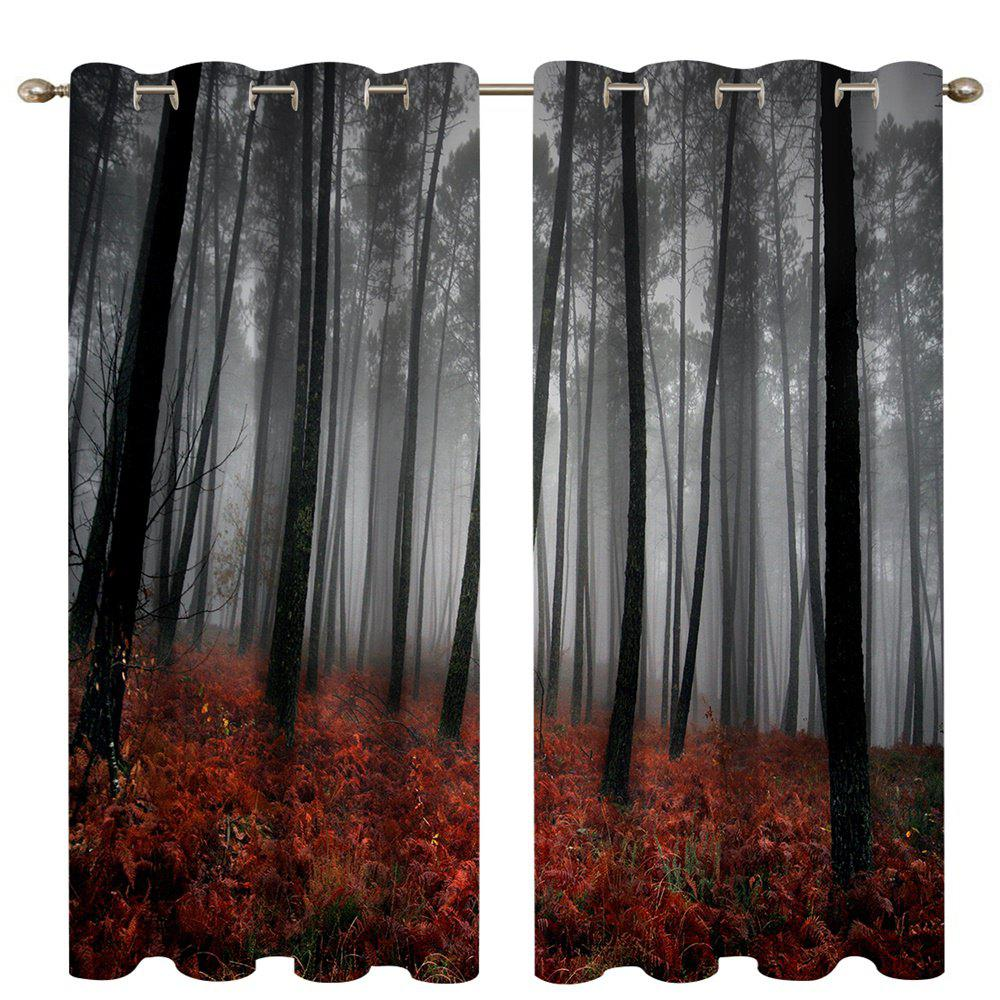 Shops Mangrove Forest Digital Printing High Precision Black Silk Blackout Curtains