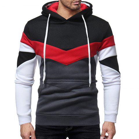 Men's Fashion Color Crash Leisure Long Sleeved Hooded Thickened Sweater