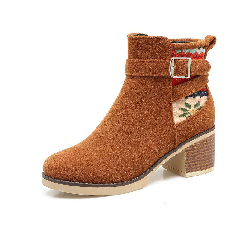 Buy The Round Head Is Rough Hit By Color Buckle with Casual Short Boots