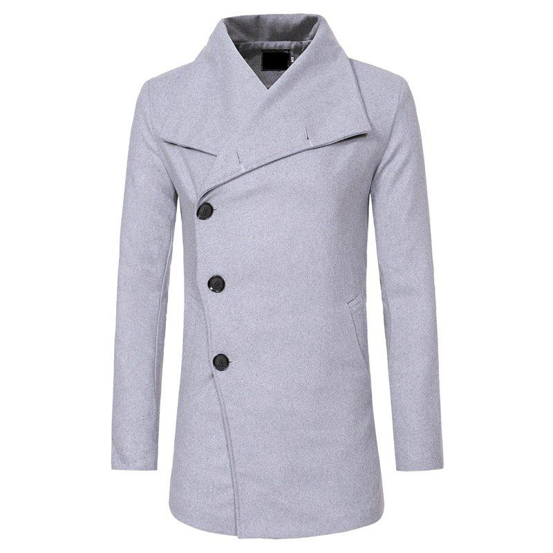 Unique Men's Fashion Single-breasted Casual Slim Woolen Trench Coat