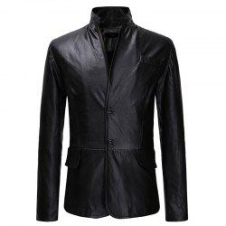 Men's Fashion Classic Two-button Casual Slim Collar Leather Suit -