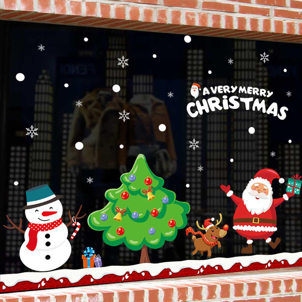 Shop Christmas Snow Tree Showcase Glass Is Stuck Cartoon Door Post Wall Stickers
