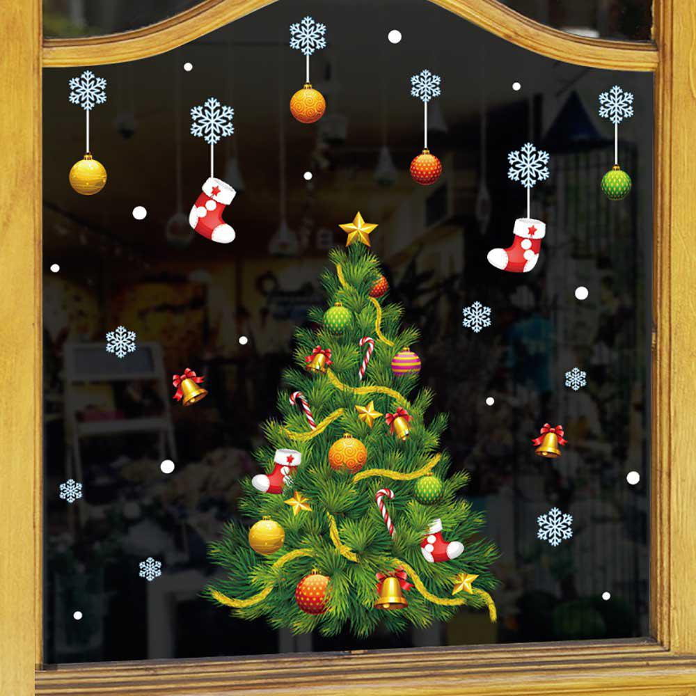 Fancy Christmas Snow Tree Showcase Glass Is Stuck Cartoon Door Post Wall Stickers
