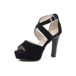 Summer New Sexy Thick with High Heel Fashion Fish Mouth Buckle Women Sandals -