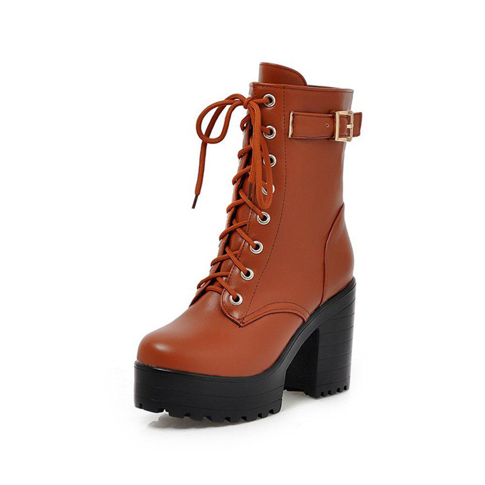 Affordable Autumn and Winter Fashion Round Head with Women'S Boots Front Lace-Up Kni