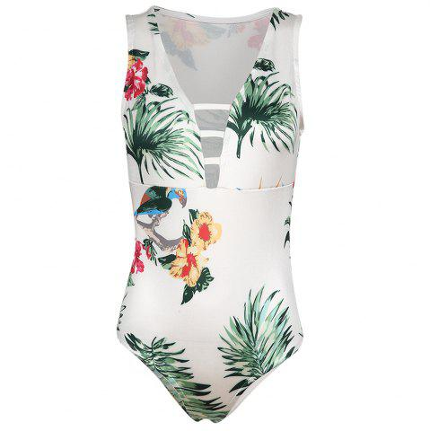 MISSOMO Stylish and Simple Sexy V-Neck Openwork Plant Print One-Piece Swimsuit