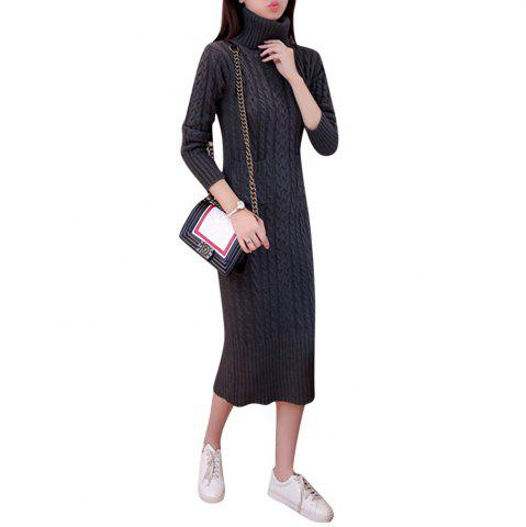 Women's Sweater Solid Color Turtle Neck Long Sleeve Thick Knit Dress