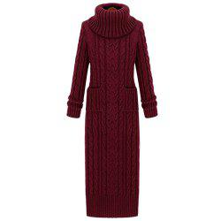 Women's Sweater Solid Color Turtle Neck Long Sleeve Thick Knit Dress -