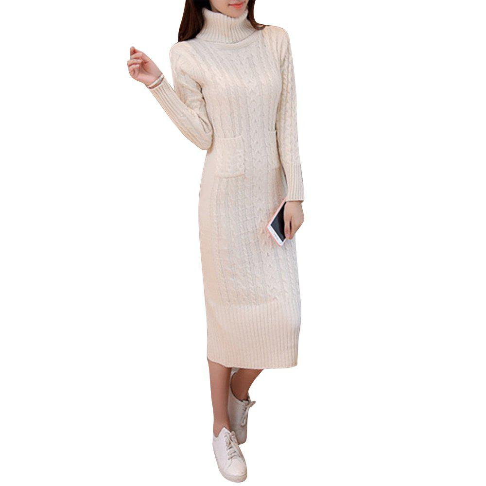 Latest Women's Sweater Solid Color Turtle Neck Long Sleeve Thick Knit Dress