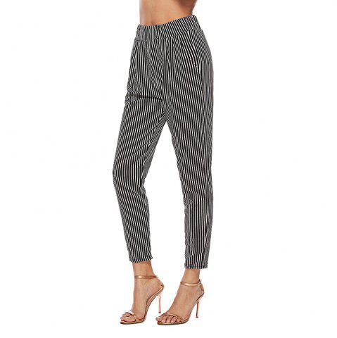 2018 Europe and The United States Autumn Striped Trousers High Waist Suit Pants