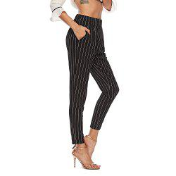 2018 Europe and The United States Autumn Striped Trousers High Waist Suit Pants -