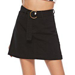 Women's Skirt Fashion Belt Black Mini Skirt -