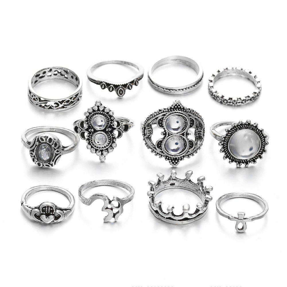 Affordable Silver Vintage Hollow 12 Pieces Rings Set