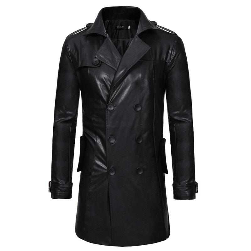 Chic New Double-Breasted Large Lapel Men'S Long Leather Trench Coat