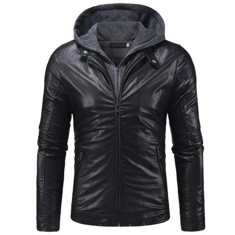 2018 New Double Zipper Access Men'S Knit Hooded Leather Jacket