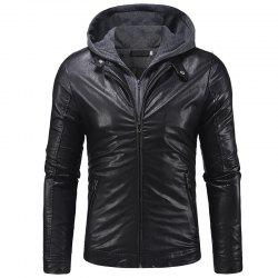 2018 New Double Zipper Access Men'S Knit Hooded Leather Jacket -