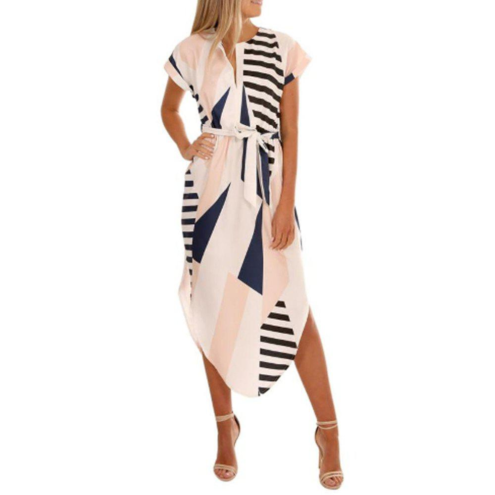 Online Long V Style Short Sleeved Geometric Print Dress in Fashion
