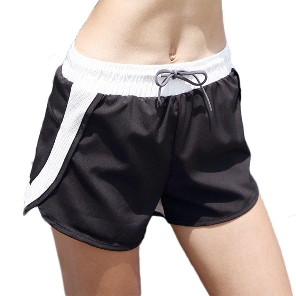 Best Patchwork Drawstring Double Layer Women Elastic Waist Yoga Shorts