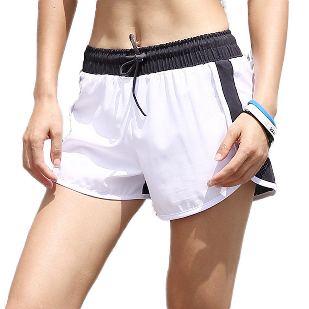 New Patchwork Drawstring Double Layer Women Elastic Waist Yoga Shorts