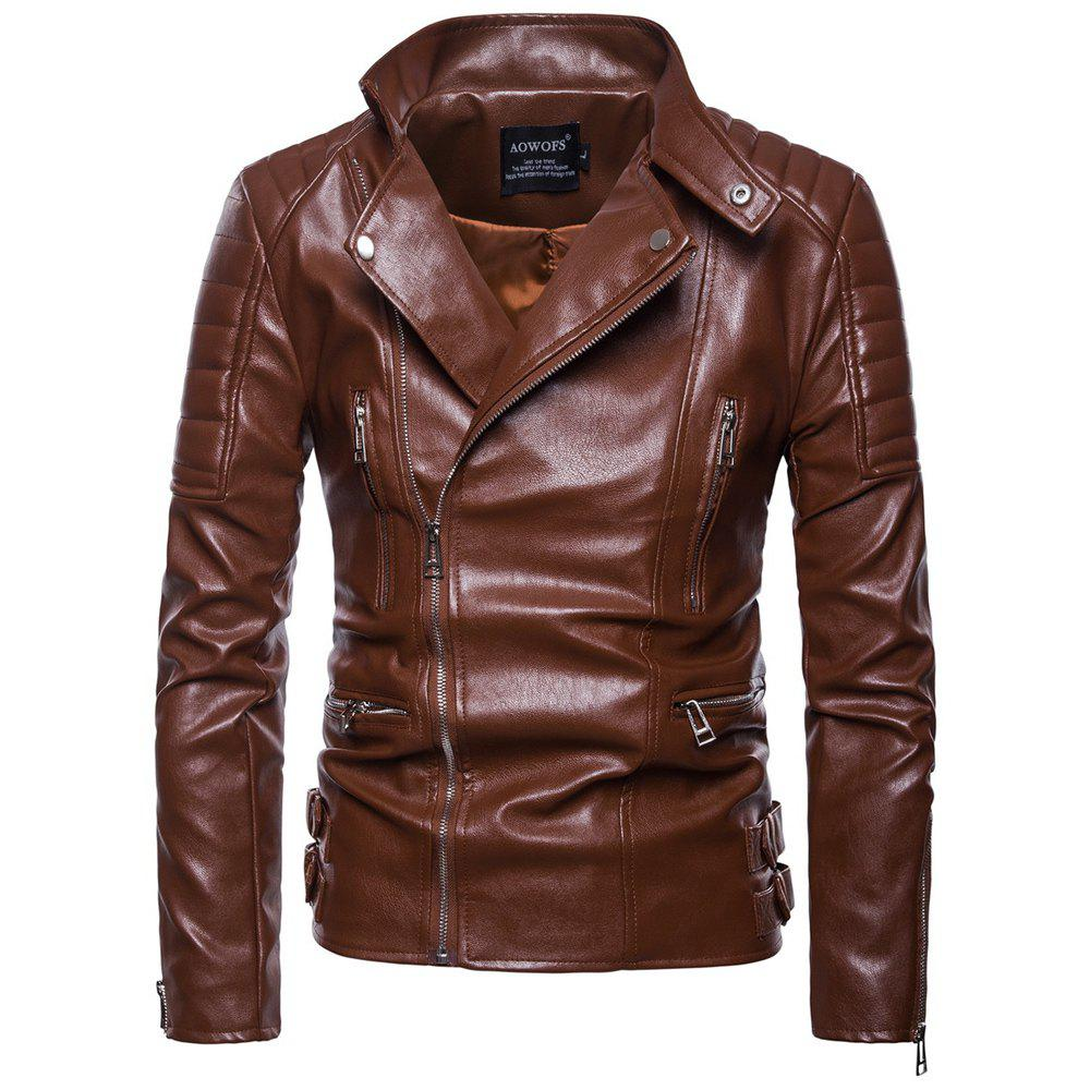 Affordable Autumn New Men'S Leather Jacket Locomotive Lapel Leather