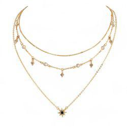 Модные личности LADIES Многослойное ожерелье Star Pendant Necklace - Золотой