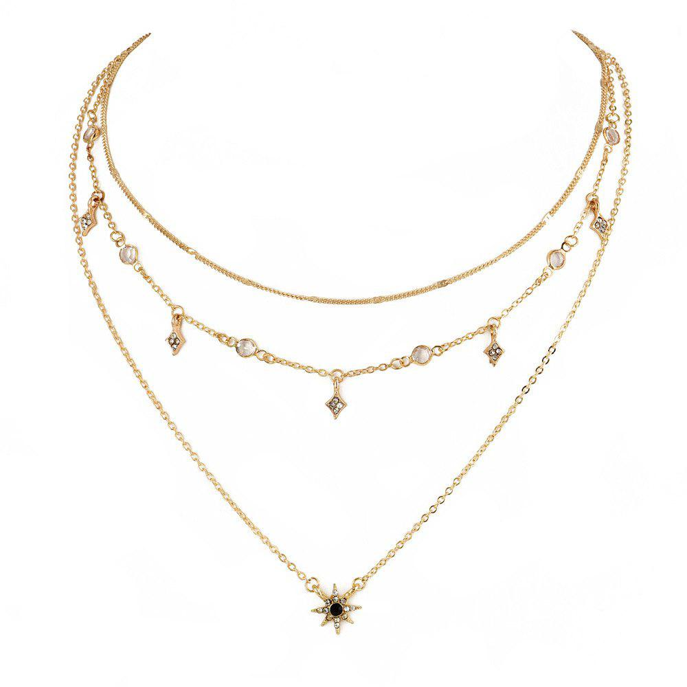 Модные личности LADIES Многослойное ожерелье Star Pendant Necklace Золотой