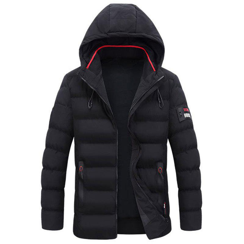 New New Man Fashion Full Sleeve with Cap Warm Solid Parka Coat