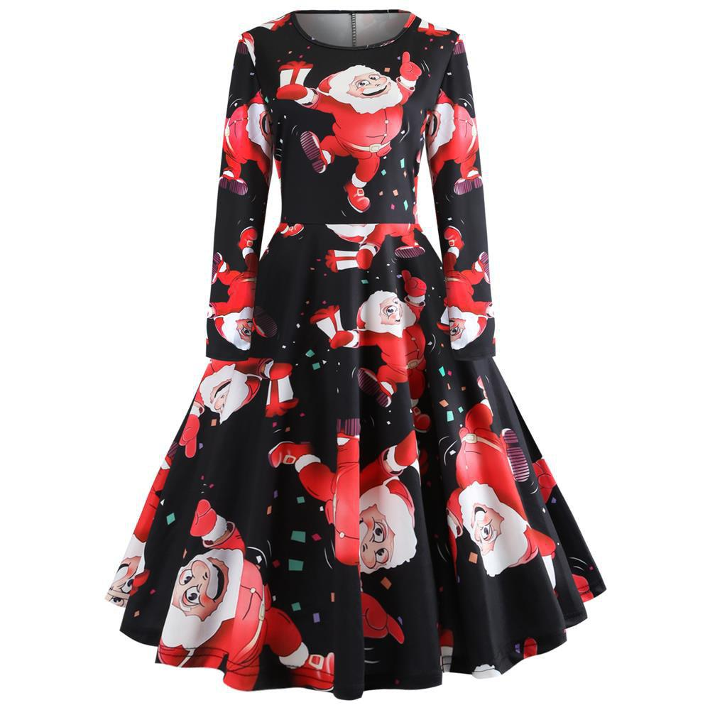Cheap Printed Long-Sleeved Waist Slim Women's Dress