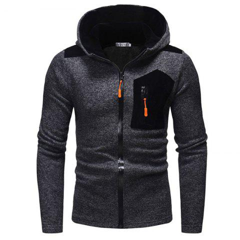 Men's Fashion Zipper Crash Color Joint Hat Long Casual Sleeved Knitted Sweater