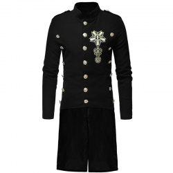 Men's Fashion Casual Collar Slim and Long Woolen Trench Coat -