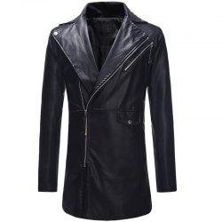 Diagonal Zipper Large Lapel Men's Casual Slim Mid-length Leather Trench Coat -