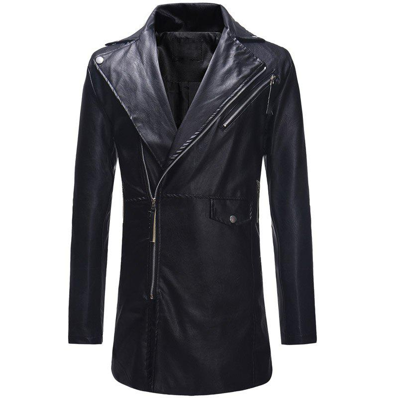 Outfits Diagonal Zipper Large Lapel Men's Casual Slim Mid-length Leather Trench Coat