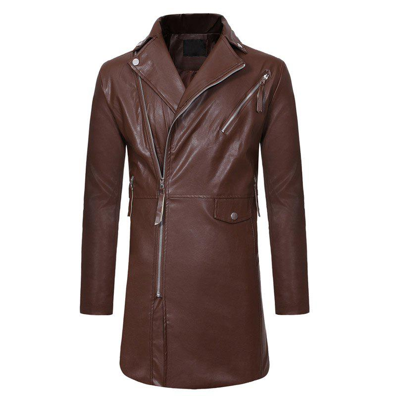 New Diagonal Zipper Large Lapel Men's Casual Slim Mid-length Leather Trench Coat