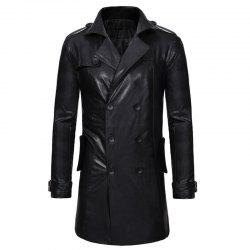 Casual long manteau de trench en cuir mince revers double boutonnage hommes -