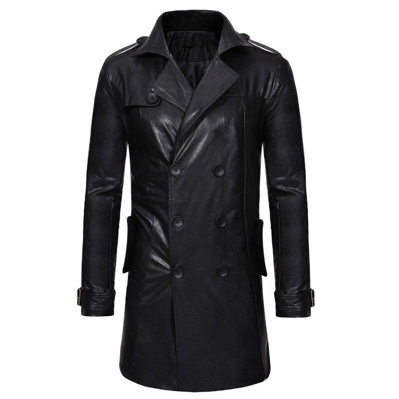 Casual long manteau de trench en cuir mince revers double boutonnage hommes