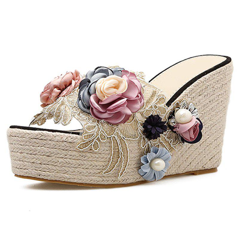 Chic Women's Wedge Shoes Sweet Party Slippers with Flowers