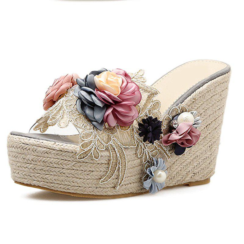 Outfit Women's Wedge Shoes Sweet Party Slippers with Flowers