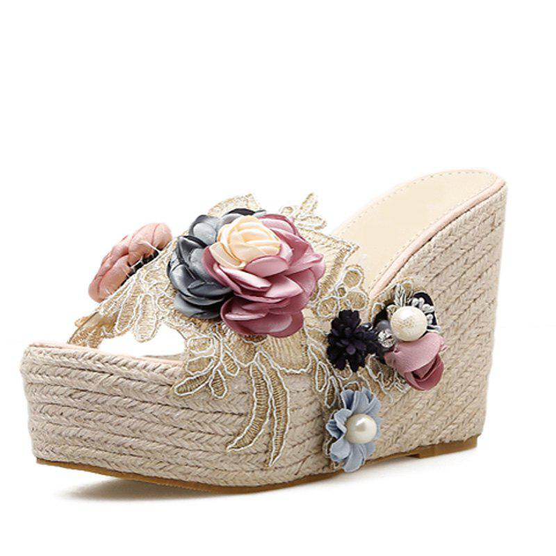 Best Women's Wedge Shoes Sweet Party Slippers with Flowers